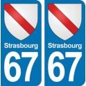 Autocollant Strasbourg immatriculation 67