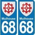 Autocollant Mulhouse immatriculation 68