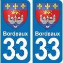 Autocollant Bordeaux immatriculation 33