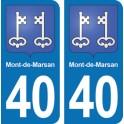 Autocollant Mont-de-Marsan immatriculation 40