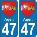 Autocollant Agen immatriculation 47