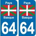 Autocollant Pays Basque immatriculation 64