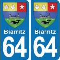 Autocollant Biarritz immatriculation 64