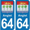Autocollant Anglet immatriculation 64