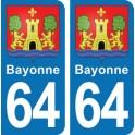 Autocollant Bayonne immatriculation 64