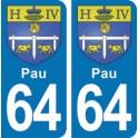 Autocollant Pau immatriculation 64