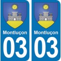 Autocollant Montluçon immatriculation 03