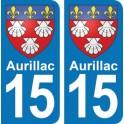 Autocollant Aurillac immatriculation 15