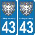 Autocollant  Le-Puy-en-Velay immatriculation 43
