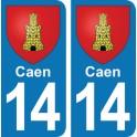 Autocollant Caen immatriculation 14