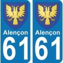 Autocollant Alençon immatriculation 61
