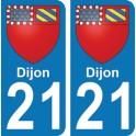 Autocollant Dijon immatriculation 21