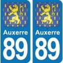 Autocollant Auxerre immatriculation 89
