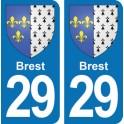 Autocollant Brest immatriculation 29