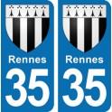 Autocollant Rennes immatriculation 35