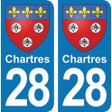 Autocollant Chartres immatriculation 28