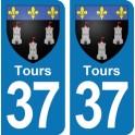 Autocollant Tours immatriculation 37