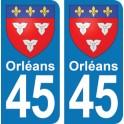 Autocollant Orléans immatriculation 45