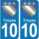 Autocollant Troyes immatriculation 10