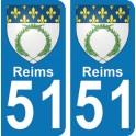 Autocollant Reims immatriculation 51