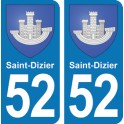 Autocollant Saint-Dizier immatriculation 52
