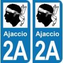 Autocollant Ajaccio immatriculation 2A