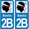 Autocollant Bastia immatriculation 2B
