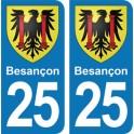 Autocollant Besançon immatriculation 25