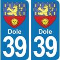 Autocollant Dole immatriculation 39