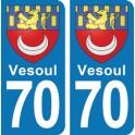 Autocollant Vesoul immatriculation 70