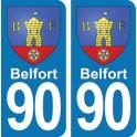 Autocollant Belfort immatriculation 90