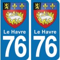 Autocollant Le Havre immatriculation 76