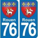 Autocollant Rouen immatriculation 76