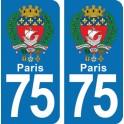 Autocollant Paris immatriculation  75