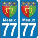 Autocollant Meaux immatriculation 77