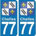 Autocollant Chelles immatriculation 77