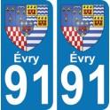 Autocollant Évry immatriculation 91