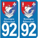 Autocollant Boulogne-Billancourt immatriculation 92