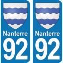 Autocollant Nanterre immatriculation 92