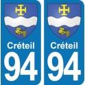 Autocollant Créteil immatriculation 94