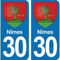 Autocollant Nîmes immatriculation 30