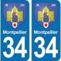 Autocollant Montpellier immatriculation 34