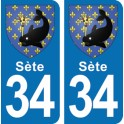 Autocollant Sète immatriculation 34