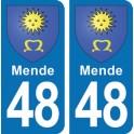 Autocollant Mende immatriculation 48