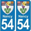 Autocollant Nancy immatriculation 54