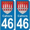Autocollant Cahors immatriculation 46