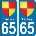 Autocollant Tarbes immatriculation 65
