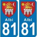 Autocollant Albi immatriculation 81
