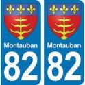 Autocollant Montauban immatriculation 82