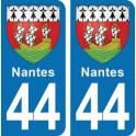 Autocollant Nantes immatriculation 44